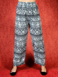 Tai chi broek met touwtje Lana print zwart