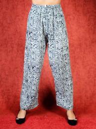 Tai chi broek met touwtje Shan print zwart
