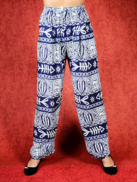 Tai chi broek met touwtje fish print donker blauw