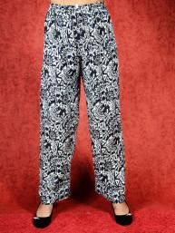 Tai chi broek met touwtje fragment print zwart