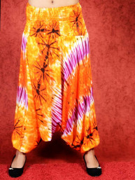 Dip-Dye & Tie-Dye Harem broek model Sinbad oranje