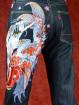 Geborduurde jeans Sugoi met Samoerai en Koi