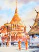 Aquarel Wat Phrathat, Doi Suthep in Chiangmai