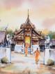 Aquarel Wat Ton Kwaen in Hang Dong, Chiangmai