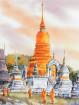 Aquarel Wat Suan Dok in Chiangmai