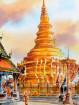 Aquarel Wat Phrathat Haripunchai in Lamphun